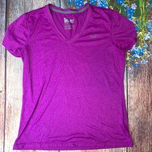 NIKE Dri Fit V Neck Performance Shirt Berry Large